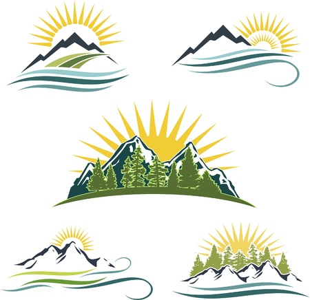 climbing mountain: Icon set featuring mountains, water, and trees