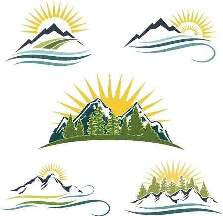 Icono de conjunto montañas ofrecen, el agua y los árboles Ilustración de vector