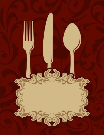 restaurante italiano: Fondo del men� del vintage con tenedor, cuchara y cuchillo Vectores