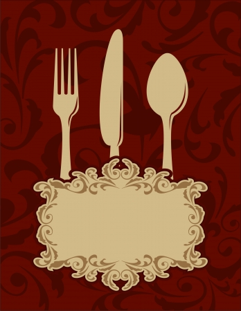 fine dining: Vintage menu background with fork, spoon and knife