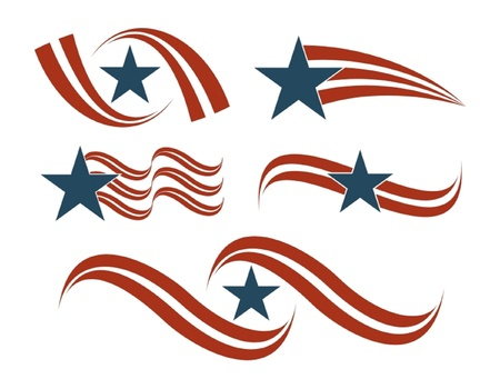 Flag Icon Set in red and blue Illustration