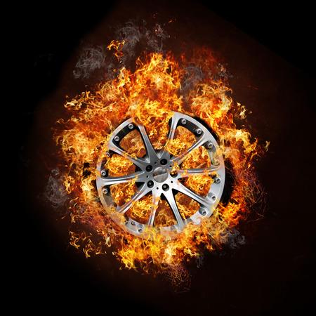 Car Wheel on Fire