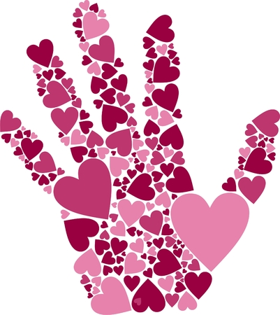 Vector Illustration of Hand of Hearts symbol for love affection Vector