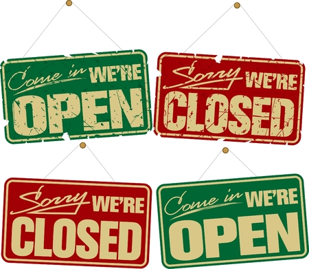 Open and Closed Signs Illustration