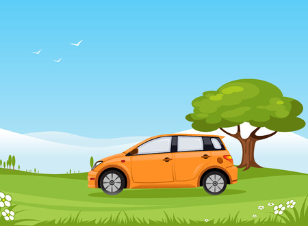 Car in Summer Landscape Tree Flowers Illustration
