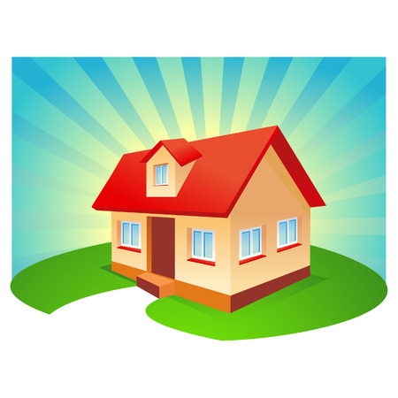 House with  blue sunburst background