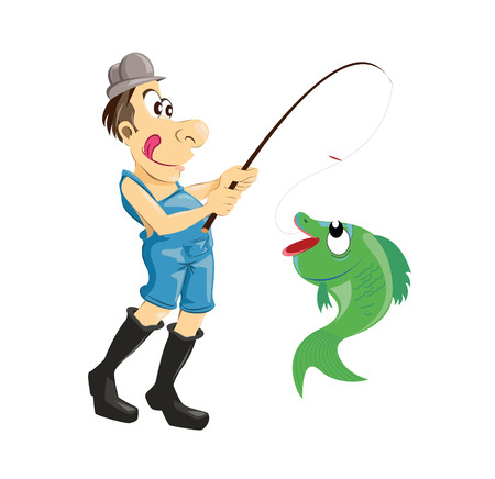 Angler with a fish on hook