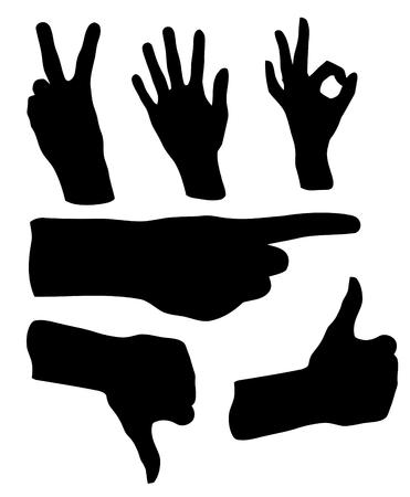Different black hand gestures Ilustração