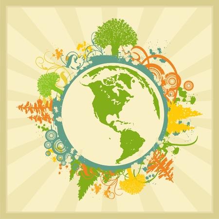 Grunge and Floral EarthPlanet on starburst background. Vector Illustration.