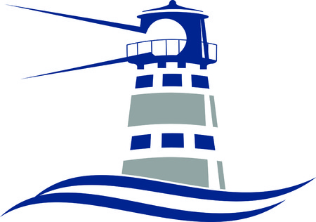 2 color Lighthouse Icon in vector format. Stock Illustratie