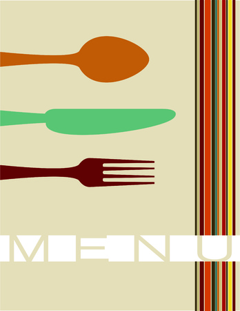 fork and spoon: Menu with fork, spoon, knife Illustration