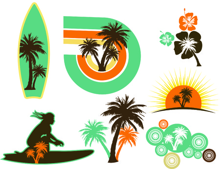 Colorful Surfing icons with integrated palm trees.