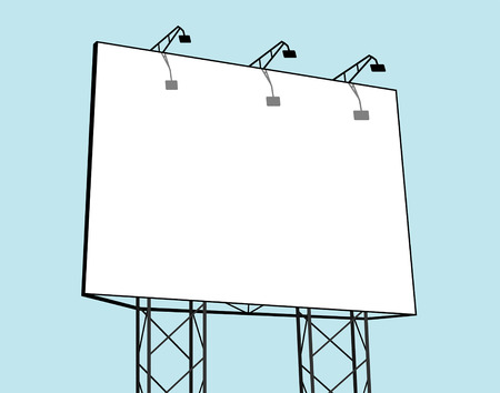 Billboard  in blue background Stock Illustratie