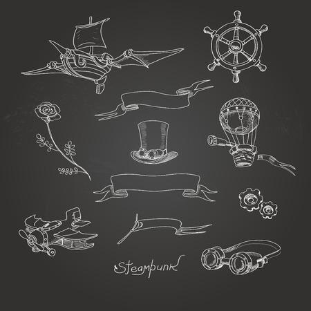 goggles: Steampunk icons chalk board retro simbolŒ