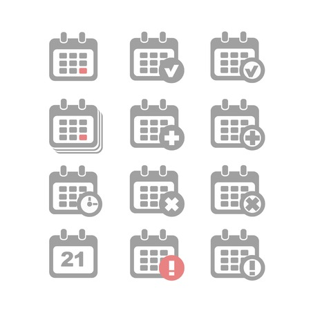 Vector Calendar Icons event add delete alert and clock Stock Vector - 29298811
