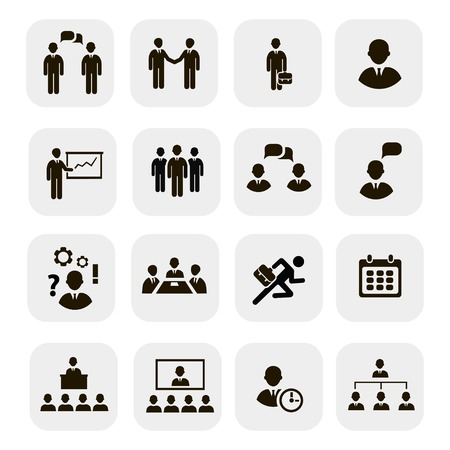 Business people meetings and conferences icons showing training presentation training table leadership teamwork group discussionŒŒ Stock Vector - 30176175