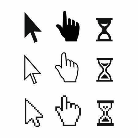 Pixel cursors icons  mouse hand arrow hourglass  Vector Illstration