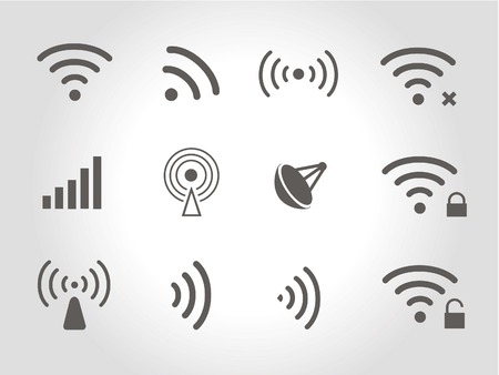 Set of twelve different black  wireless and wifi icons  Vector