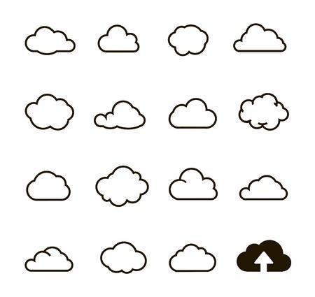 simplus: Nube forma la colecci�n de iconos de la nube para web cloud computing y aplicaci�n serie Simplus