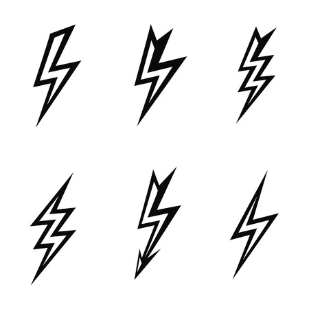 discharge: vector lightning silhouettes on white background  icon set