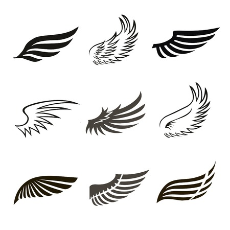 Abstract feather angel or bird wings icons set isolated vector illustration Stock Illustratie