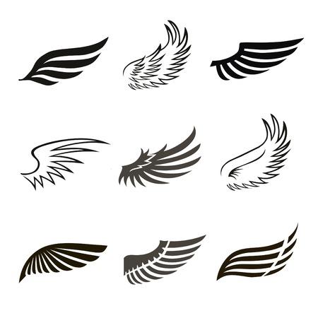 tatouage ange: Résumé plumes ange ou oiseaux ailes icons set isolé illustration vectorielle Illustration