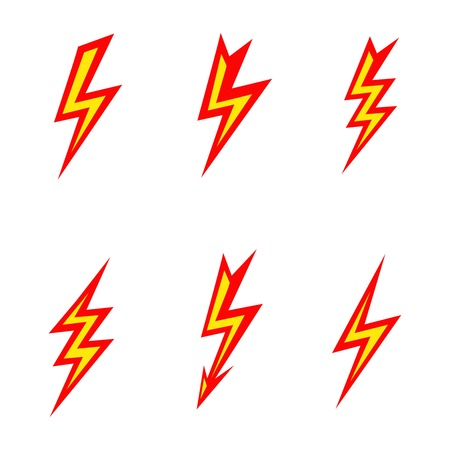 vector lightning colored silhouettes on white background  icon set Illustration