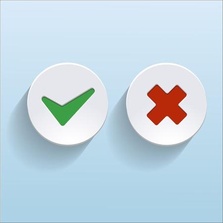 no pase: Vector Sí y No hay marcas de verificación en los círculos