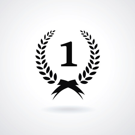 enclosing: Black vector silhouette winner icon or number 1 sign with a circular laurel wreath enclosing the digit 1