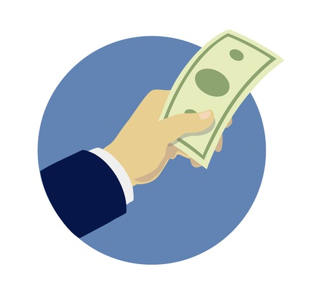 giving money: hand giving money flat style vector illustration Illustration