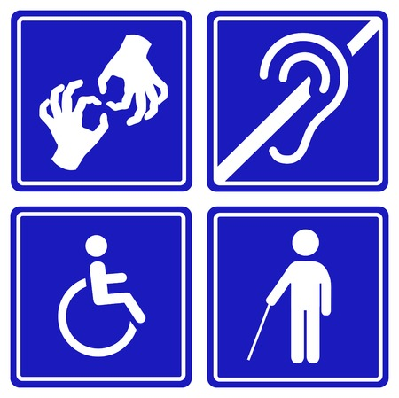 disabled parking sign: Disabled signs: deaf, blind, mute and wheelchair  icons. .