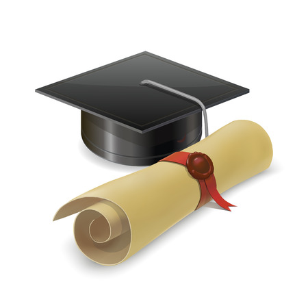 mortar board: Illustration of graduation cap with diploma. Mortarboard Isolated on white background