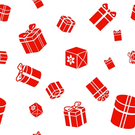 gift pattern: Seamless  Gift pattern, red gift boes on white background Stock Photo