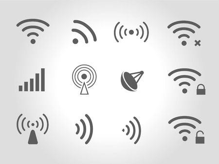 remote access: Set of twelve different black  wireless and wifi icons for remote access and communication via radio waves