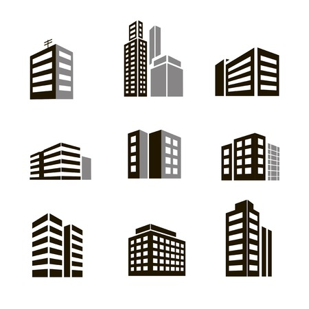 Buildings icons vector illustrctration on white background Vector