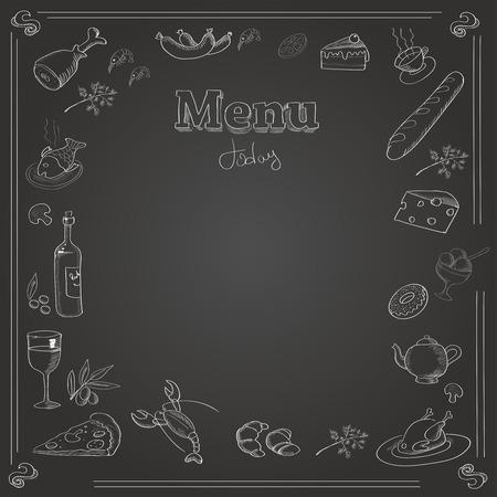 El diseño del menú con una textura tablero de tiza. Ilustración de vector