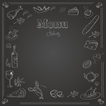 soup and salad: Menu design with a chalk board texture.