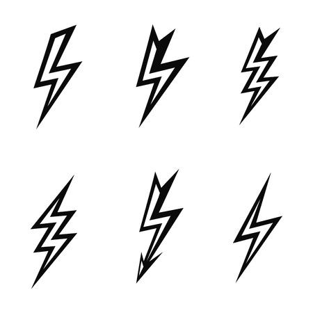 lightning silhouettes on white background  icon set photo