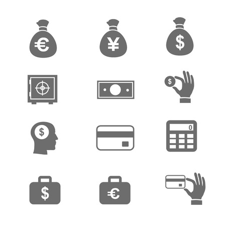 safe deposit box: Money and coin icon set