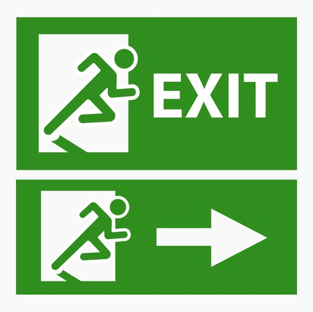 green exit emergency sign: Green exit emergency sign on white vector