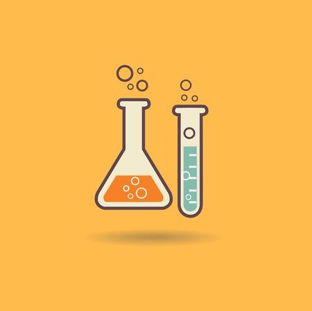 Laboratory glass illustration retro concept Vector