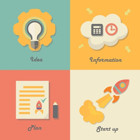 Set of start up icons for new business, ideas, innovation and development. Rocket and paper. Vector