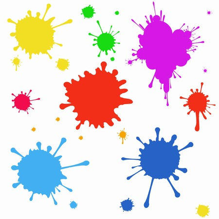 dripping paint: Vector set of colored blots on the white background