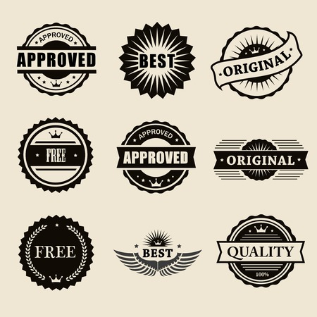 commercial stamps set in vintage style for business and design photo