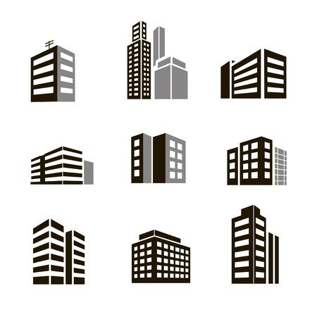 Edificio Y Rascacielos. Icono De Estilo Plano. Ilustración De Trama ...