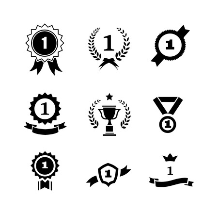 number one: Set of black and white circular  winner emblems and leader icons with laurel wreaths and ribbon rosettes enclosing the number 1  an award trophy and crown