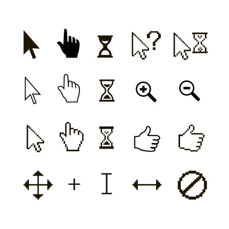 set of different mouse cursors: finger hand thumb up and magnifier photo