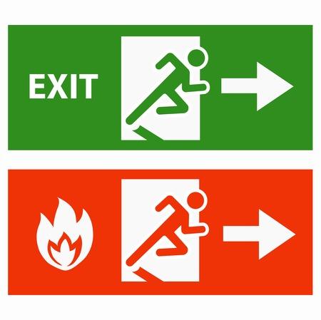 evacuacion: Emergencia icono de signo vector de la puerta de salida de incendios