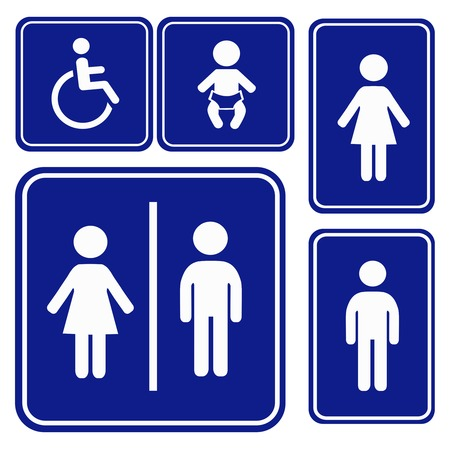 toilette: Vector illustration toilette sign blue white
