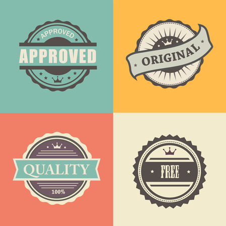 commercial stamps set in vintage style for business and design approved free original Vector